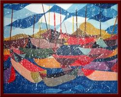 Kumsalda Tekneler 100X70 cm - 1996
